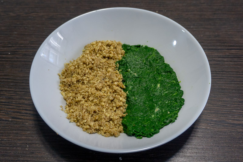 Finely chopped walnuts & spinach