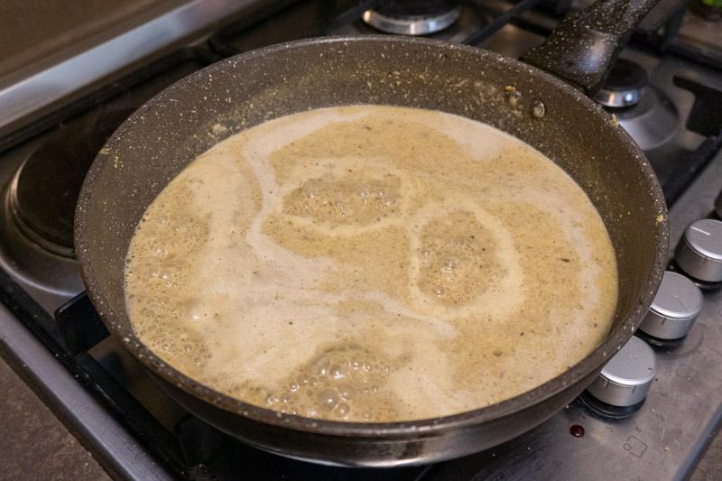Satsivi sauce bubbling away