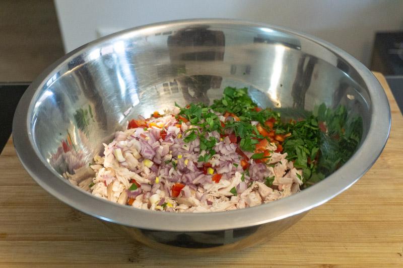Mixing your chicken salad ingredients