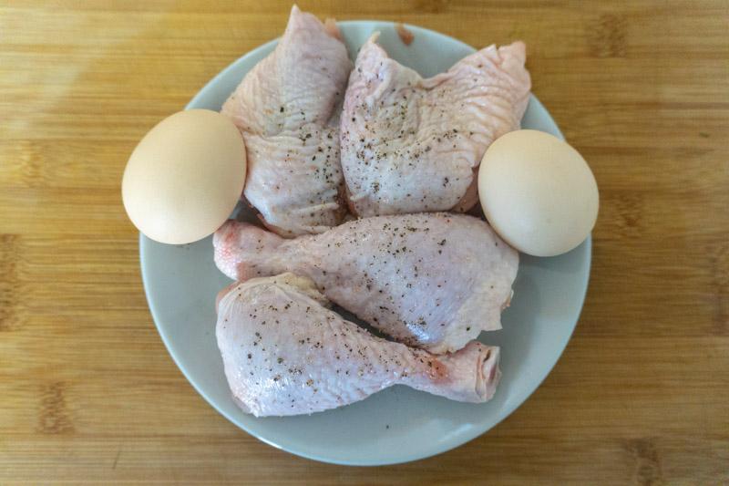 Chicken & Eggs - the key to this chikhirtma recipe