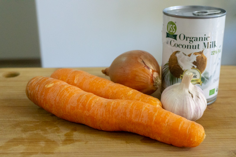 Key ingredients for this carrot soup recipe