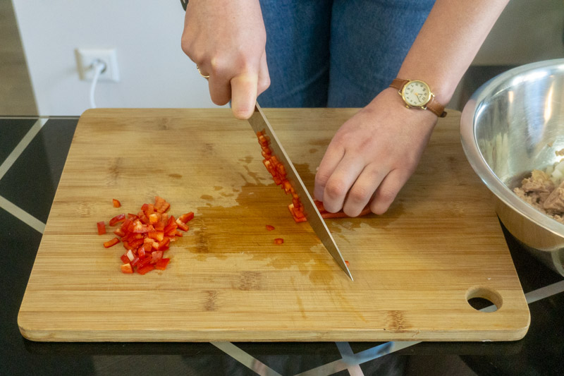 Dicing a red pepper for tuna salad